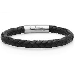 Oxford Ivy Braided Black Leather Mens Bracelet 8 mm 8 1/2 inches with Locking Stainless Steel Clasp - Thumbnail 0