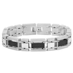 Oxford Ivy Oxford Ivy Mens Stainless Steel and Carbon Fiber Link Bracelet 8 1/4 inches