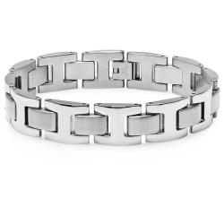 Oxford Ivy Men's Heavy Solid Stainless Steel Chain Link Bracelet 8 1/2 inches - Thumbnail 0