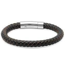 Oxford Ivy Braided Dark Brown Leather Mens Bracelet 8 mm 8 1/2 inches with Locking Stainless Steel Clasp - Thumbnail 0
