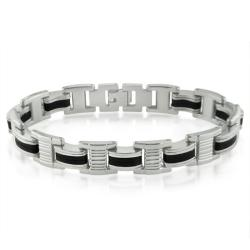 Oxford Ivy Mens Stainless Steel and Black Rubber Chain Link Bracelet 8 1/4inches - Thumbnail 0