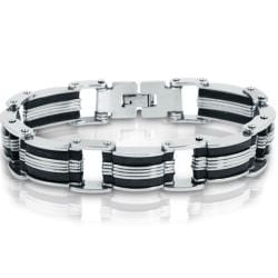 Oxford Ivy Stainless Steel with Black Rubber Mens Chain Link Bracelet 8 inch - Thumbnail 0