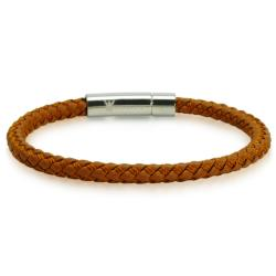Oxford Ivy Braided Brown Leather Mens Bracelet 6 mm 8 1/2 inches with Locking Stainless Steel Clasp - Thumbnail 0