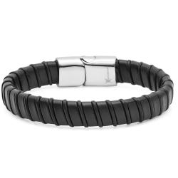 Oxford Ivy Mens Faux Leather Bracelet with Locking Stainless Steel Clasp 8 1/2 inches - Thumbnail 0