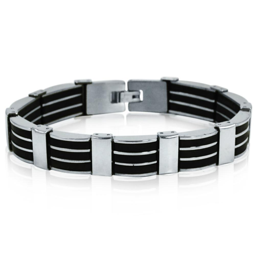 Oxford Ivy Men's Stainless Steel 3-Row Black Rubber Bracelet 8 1/4 inches
