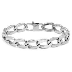 Mens Oxford Ivy Stainless Steel Chain Link Bracelet 8 1/2 inches - Thumbnail 0