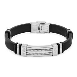 Oxford Ivy Black Rubber Bracelet with Locking Stainless Steel Clasp 8 1/2 inches - Thumbnail 0