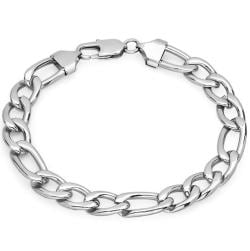 Mens Oxford Ivy Stainless Steel Figaro Chain Link Bracelet 8 1/2 inches - Thumbnail 0