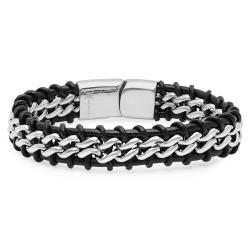 Oxford Ivy Mens Faux Leather and Stainless Steel Bracelet - Thumbnail 0