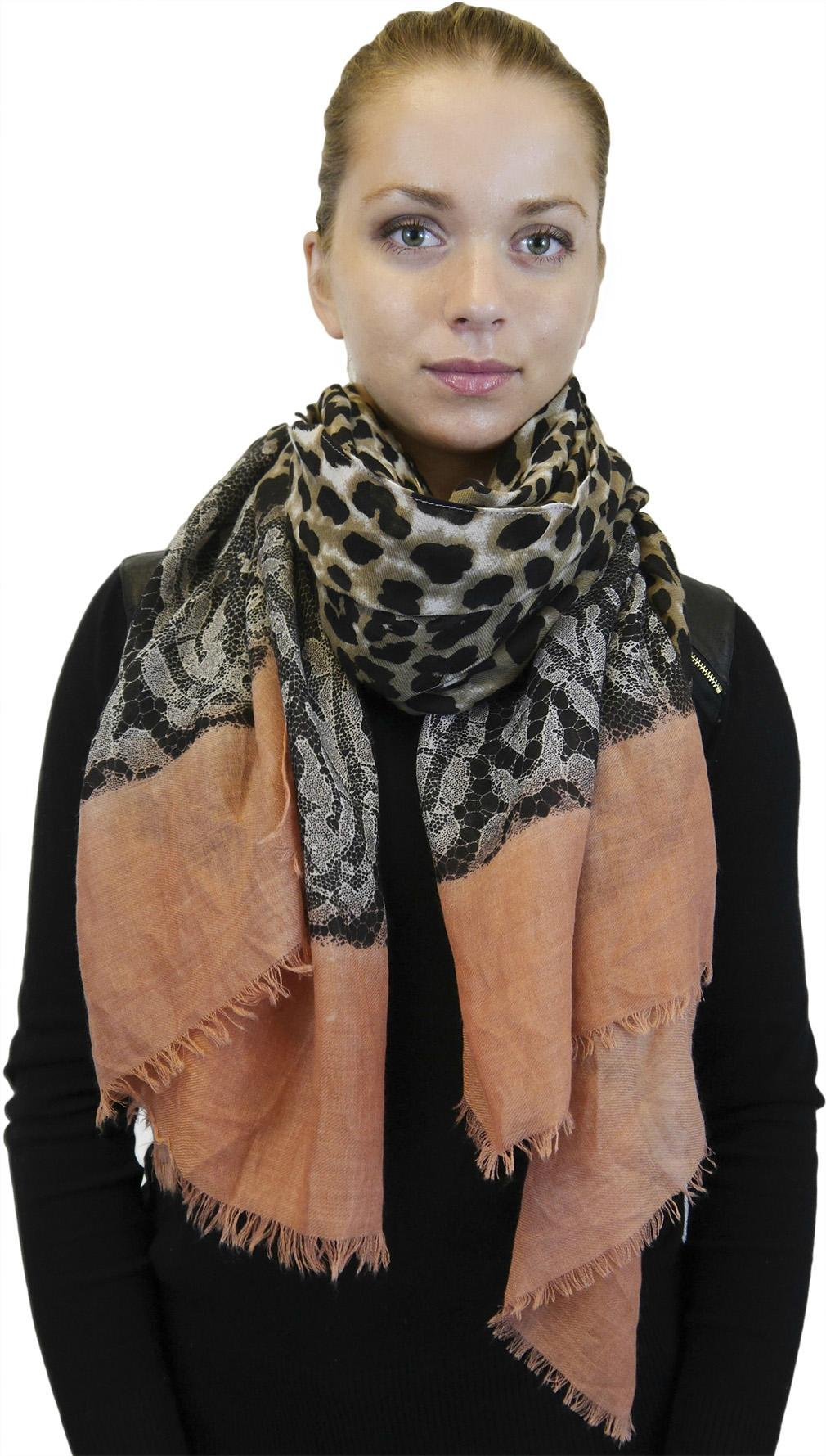 Lightweight Large Fringe Scarf, Fashion Shawl Wrap for Women, Leopard and Lace Print