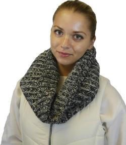 Women's Double Layer Winter Warm Knit Infinity Scarf, Black Blue Grey