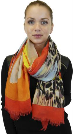 Lightweight Large Fringe Scarf Fashion Shawl Wrap for Women, Beautiful Multi Color Print - Thumbnail 0