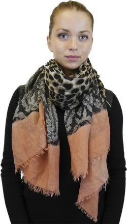 Lightweight Large Fringe Scarf, Fashion Shawl Wrap for Women, Leopard and Lace Print - Thumbnail 0