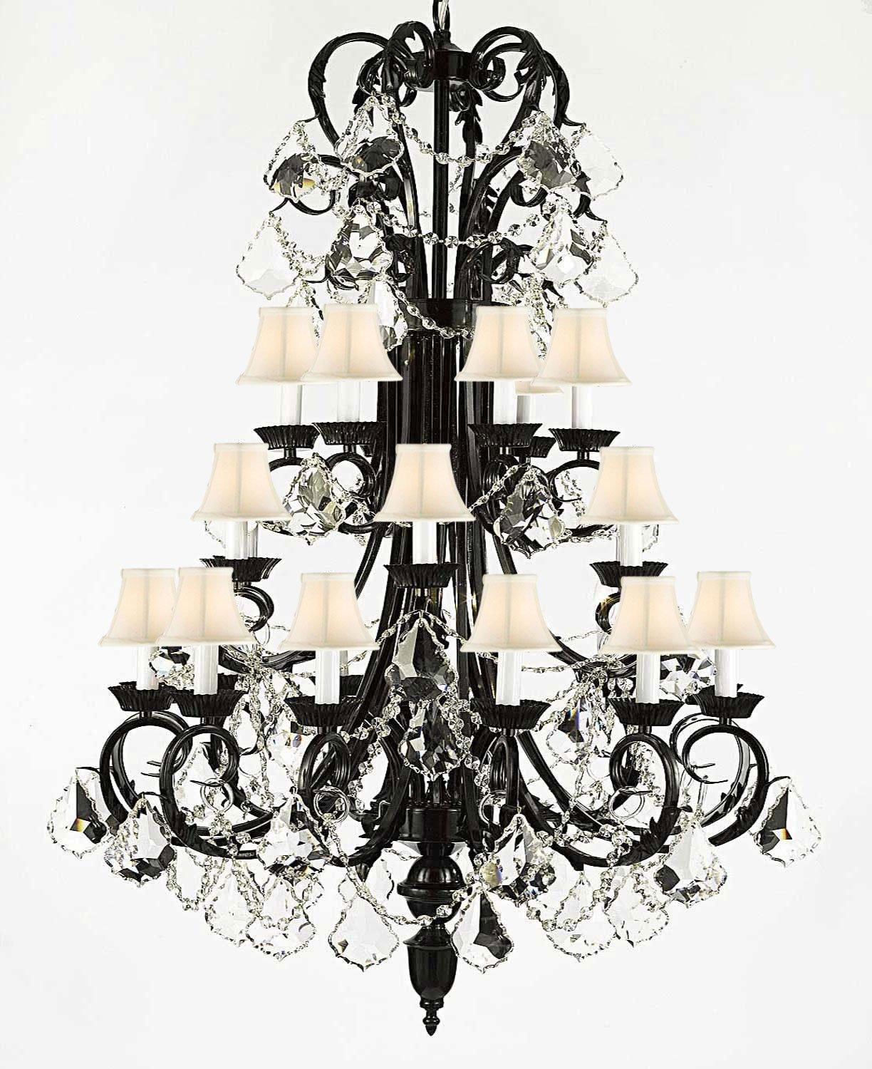 Entryway/Foyer Wrought Iron Chandelier Lighting 50In Tall With Crystal & Shades