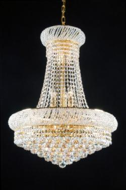 New French Empire Crystal Chandelier Lighting Gold 15 Lights - Thumbnail 0