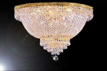 French Empire Crystal Semi Flush Chandelier Lighting H18 x W24 - Thumbnail 0