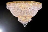 French Empire Crystal Semi Flush Chandelier Lighting H18 x W24