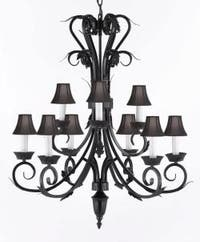Wrought Iron Chandelier Lighting With 9 Lights & Shades H30 x W26
