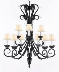 Wrought Iron Chandelier Lighting With White Shades H30 x W26