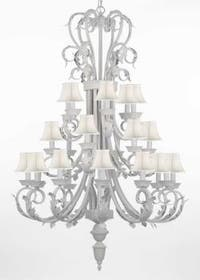 Entryway/Foyer White Wrought Iron Chandelier Lighting 50In Tall With White Shades