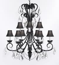 Entryway/Foyer Wrought Iron Empress Crystal Chandelier Lighting 30In Tall With Shades