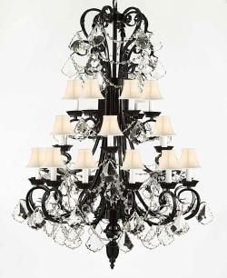 Entryway/Foyer Wrought Iron Chandelier Lighting 50In Tall With Crystal & Shades - Thumbnail 0