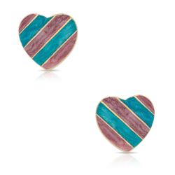 Lily Nily Girl's Striped Heart Stud Earrings