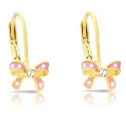 Lily Nily Girl's Bow Leverback Earrings with CZ