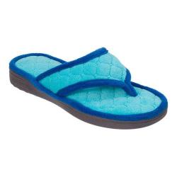 Women's Dearfoams Quilted Terry Thong Slipper Riptide