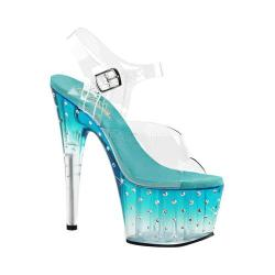 Women's Pleaser Stardust 708T Ankle-Strap Sandal Clear PVC/Teal/Clear