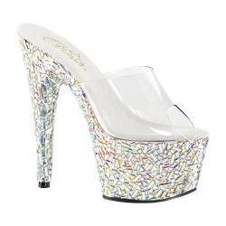 Women's Pleaser Bejeweled 701MR Platform Slide Clear PVC/Silver Multi Rhinestones