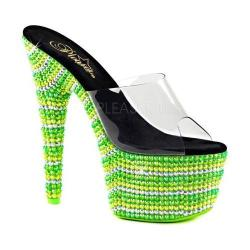 Women's Pleaser Bejeweled 701UV Platform Slide Clear PVC/Neon Multi Green