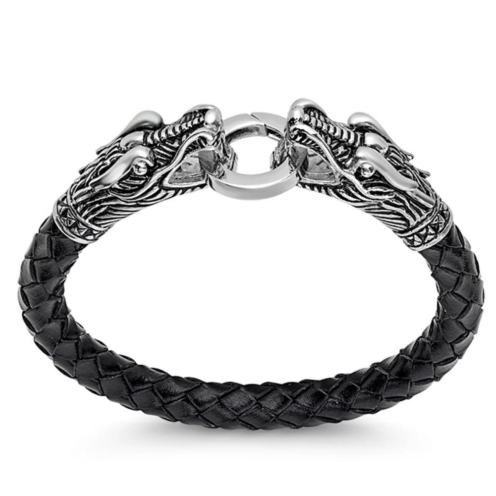 Oxford Ivy Mens Braided Leather and Stainless Steel Dragons Bracelet