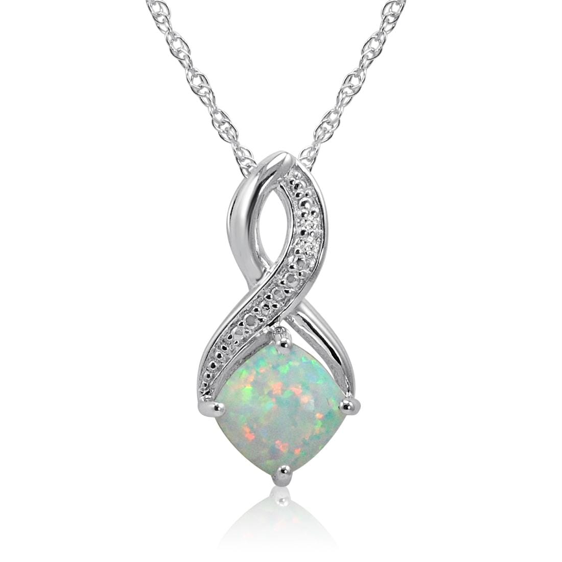Amanda Rose Created Opal and Diamond Pendant-Necklace in Sterling Silver