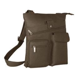 David King Leather 457 Multi Pocket Cross Bag Cafe