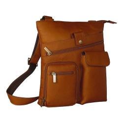 David King Leather 457 Multi Pocket Cross Bag Tan