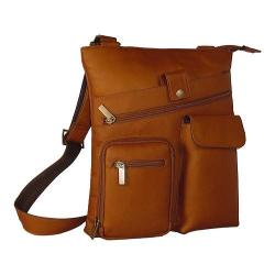 David King Leather 457 Multi Pocket Cross Bag Tan