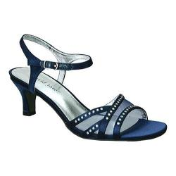 Women's David Tate Violet Ankle Strap Sandal Navy Satin