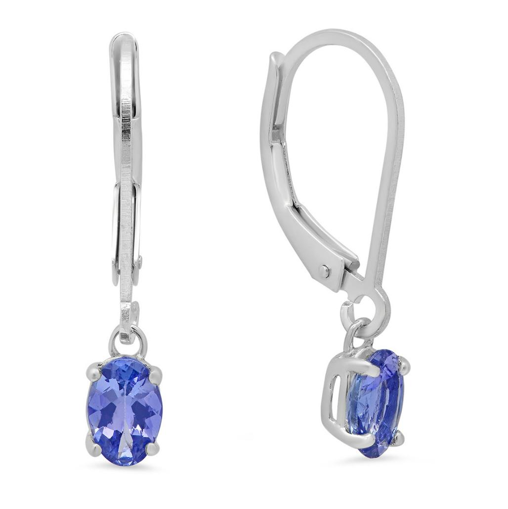 Amanda Rose Collection Tanzanite Earrings in Sterling Silver Lever Backs