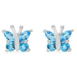 Amanda Rose Collection Swiss Blue Topaz Butterfly Earrings in Sterling Silver - Thumbnail 0