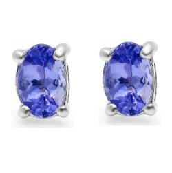 Amanda Rose Collection Tanzanite Stud Earrings set in Sterling Silver (7/8ct total weight) - Thumbnail 0