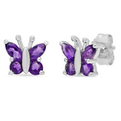 Amanda Rose Collection Amethyst Butterfly Earrings in Sterling Silver - Thumbnail 0