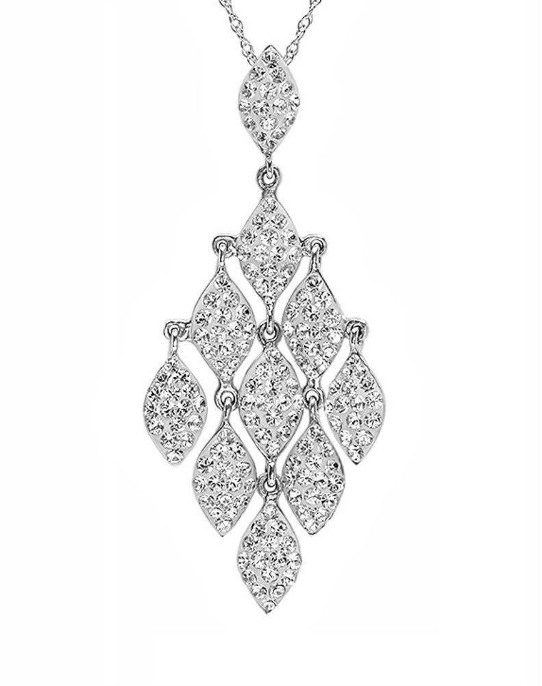 Amanda Rose Sterling Silver Chandelier Pendant - Necklace made with Swarovski Crystals