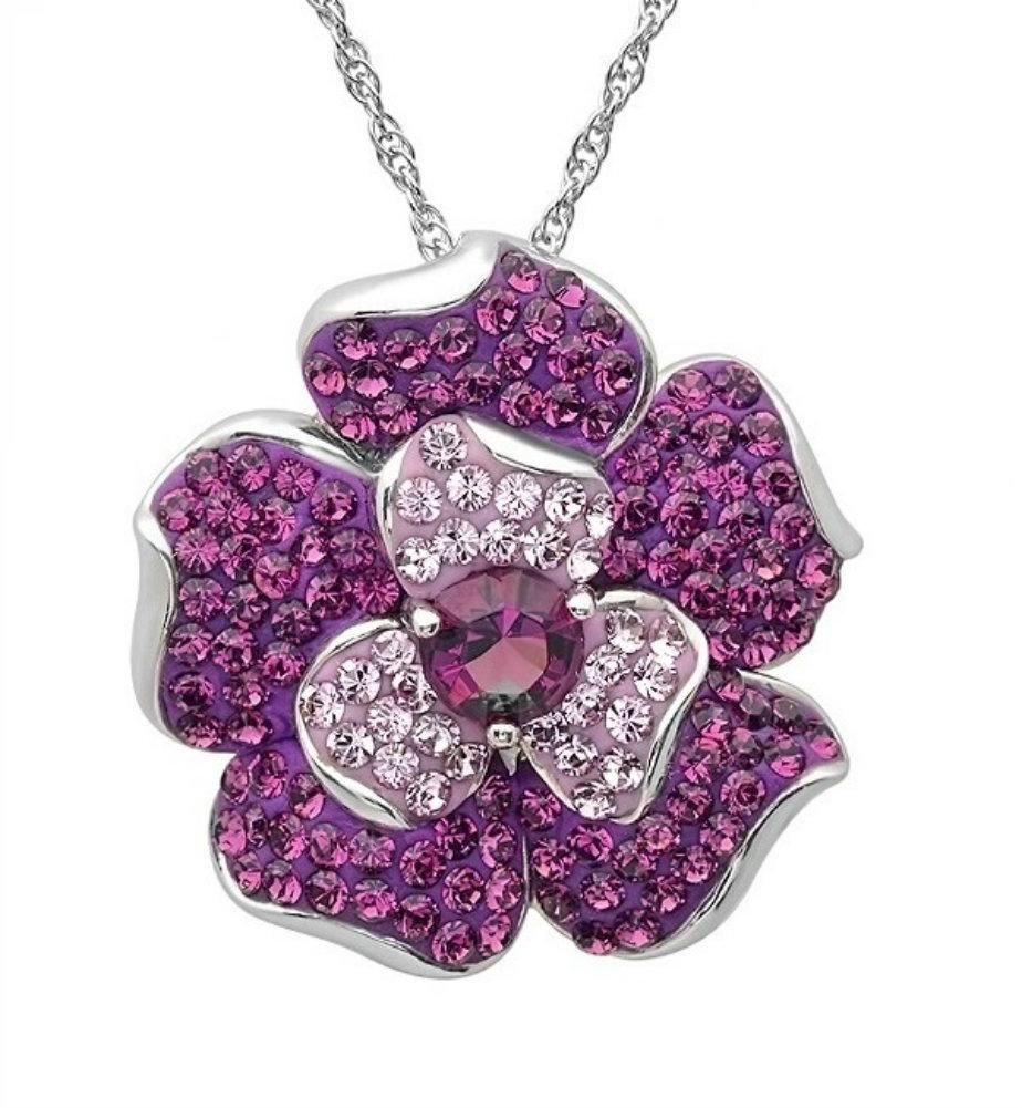 Amanda Rose Sterling Silver Purple Fade Flower Pendant - Necklace with Swarovski Crystals
