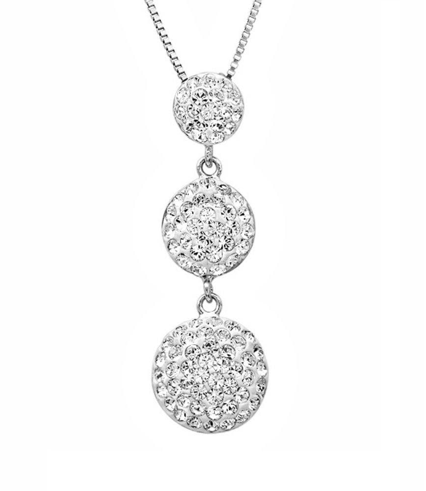 Amanda Rose Sterling Silver Three Stone Look Pendant-Necklace made with Swarovski Crystals