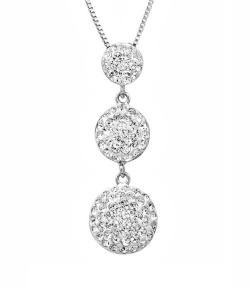 Amanda Rose Sterling Silver Three Stone Look Pendant -Necklace made with Austrian Crystals