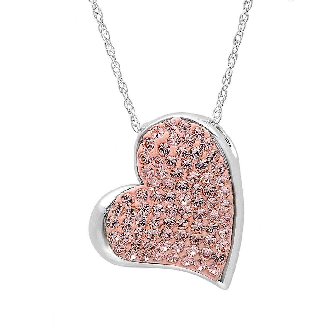 Amanda Rose Sterling Silver Heart Pendant made with Swarovski Crystals