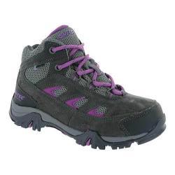 Girls' Hi-Tec Logan Waterproof Hiking Boot Charcoal/Grey/Orchid Suede