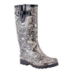 Women's Nomad Puddles Boot Black/White Paisley