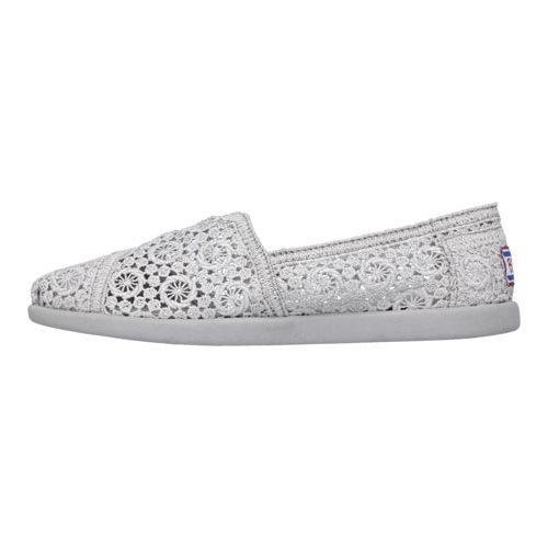 Women's Skechers BOBS World Sparklerz Alpargata Silver | Shopping The Best Deals on Slip ons